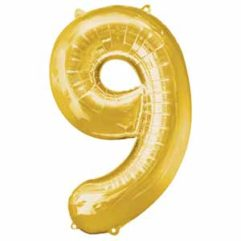 34IN Number 9 Gold Balloon Delivery