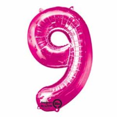 34IN Number 9 Pink Balloon Delivery