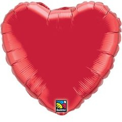 36In Ruby Red Heart Foil Balloon Balloon Delivery