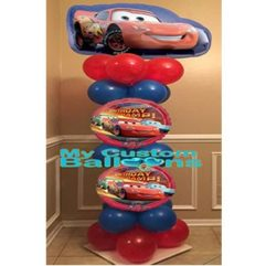 5ft Cars Column with 2 Center Balloons 1 Balloon Delivery