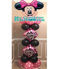 5ft Minnie Mouse Column with 2 Center Balloons 1 Balloon Delivery