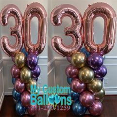 Chrome Balloon Column Big Numbers Balloon Delivery