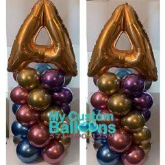 Indoor ballon Column Hugh Letter Chrome Colors Balloon Delivery