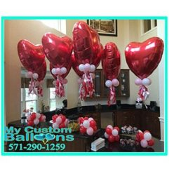36In Heart with Curls CP1 Balloon Delivery