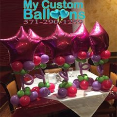 Fuchsia Star Standing Table CP Balloon Delivery