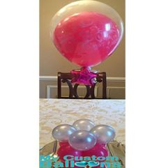 Pink Damask w Star Table CP 1 Balloon Delivery