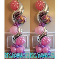 Curve Pillar Pink HB Princess Balloon Delivery