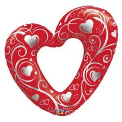 42In red Hearts & Filigree Balloon Delivery