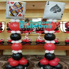 8ft tall Casino Pillars Balloon Delivery