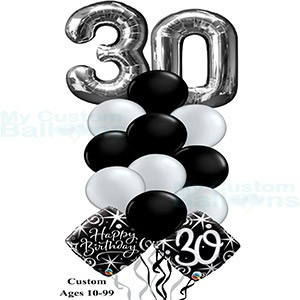 Happy 30th Birthday Balloon Bouquet Large Numbers
