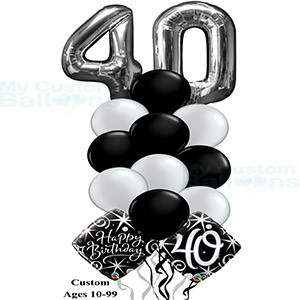 Happy 40th Birthday Balloon Bouquet Large Numbers