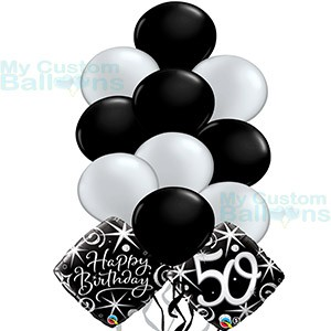 Happy 50th Birthday Balloon Bouquet 10 Latex And 2 Foil Balloons