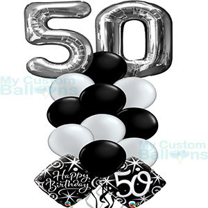 Happy 50th Birthday Balloon Bouquet Large Numbers