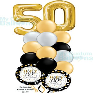 Happy 50th Birthday Balloon Bouquet Gold Large Numbers