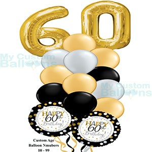 Happy 60th Birthday Balloon Bouquet Gold Large Numbers