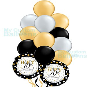 Happy 70th Gold Birthday Balloon Bouquet 11 Latex And 2 Foil Balloons