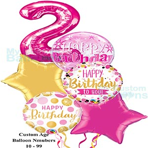 Happy 2nd Birthday Girl Balloon Bouquet 1 Large Pink Numbers