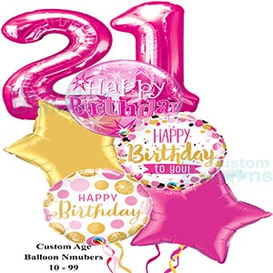 Happy 21st Birthday Girl Bubble Balloon Bouquet 2 Large Pink Numbers