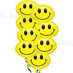Smiley Face Balloon Bouquet 8 foil balloon Balloon Delivery