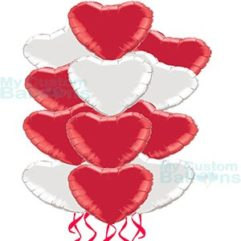 Dozen Red and White Hearts Foil Balloon Bouquet Balloon Delivery