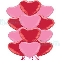 Dozen Red and Pink Hearts Foil Balloon Bouquet Balloon Delivery