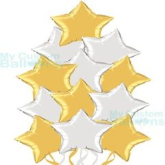 Dozen Elegant Silver and Gold Star Foil Balloons Bouquet Balloon Delivery