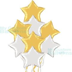 Foil Balloons Bouquet with 4 Silver and 4 Gold Stars Balloon Delivery