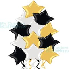 Dozen Elegant Silver Black and Gold Star Foil Balloons Bouquet Balloon Delivery
