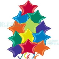 Multi Color Party Star Foil Balloons Bouquet Cluster Balloon Delivery