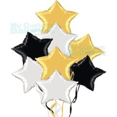 Foil Stars Balloons Bouquet With 8 Stars Silver Gold and Black Balloon Delivery