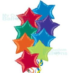 Primary Multi Color Stars Balloons Bouquet With 8 Stars Balloon Delivery