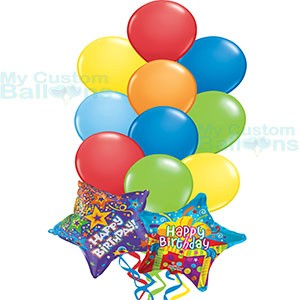 Happy Birthday Balloon Bouquet Multi Color Latex With 2 HB Stars