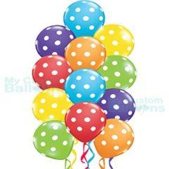 Rainbow Multi Color Polka Dot Balloon Bouquet 12 balloons Balloon Delivery