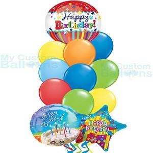 My Custom Balloons Happy Birthday Stripes Orbz Balloon Bouquet 9 Latex 2 Hb Foil Balloons