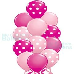 Shades of Pink Polka Dot Balloon Bouquet 13 Balloons Balloon Delivery