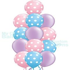 Princess Pastel Color Polka Dot Balloon Bouquet 13 Balloons Balloon Delivery