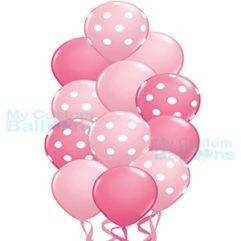 Princess Pink Polka Dot Balloon Bouquet 12 Balloon Balloon Delivery