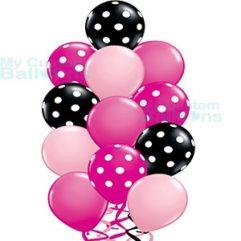 Balloon Bouquet Dozen With Pink Black Fuschia Color Balloons Balloon Delivery