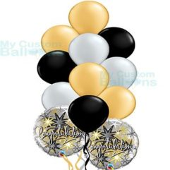 Congratulations Elegant Balloon Bouquet with Silver Black and Gold Latex Balloons Balloon Delivery