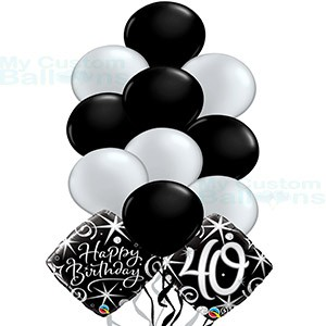 Happy 30th Birthday Balloon Bouquet 10 Latex And 2 Foil Balloons