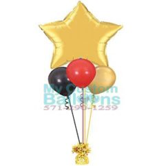 36in star Foil balloon Centerpiece with 3 latex Balloon Delivery