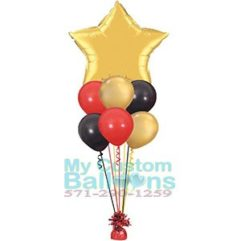 36in star foil balloon centerpice with 6 latex Balloon Delivery