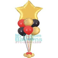 36in star foil balloon centerpiece with 6 latex deluxe Balloon Delivery