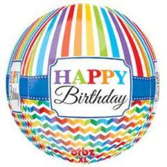 16In Birthday Chevron & Stripes Orbz Balloon Delivery