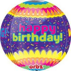 16in HBD Confetti Orb balloon Balloon Delivery