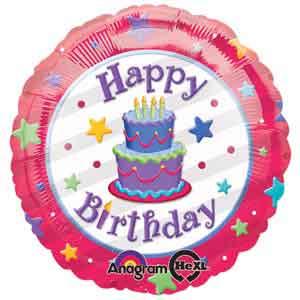 Terrific My Custom Balloons 18 In Happy Birthday Cake Foil Balloon Funny Birthday Cards Online Overcheapnameinfo