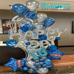 HB Gift Arrangement with curls Balloon Delivery