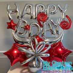 B Day arrangement Red and Chrome Silver Balloon Delivery