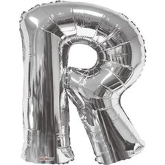 Silver 34 inch Letter R Balloon Delivery