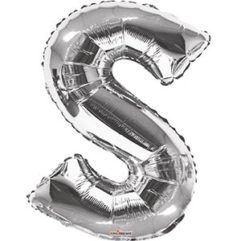 Silver 34 inch Letter S Balloon Delivery